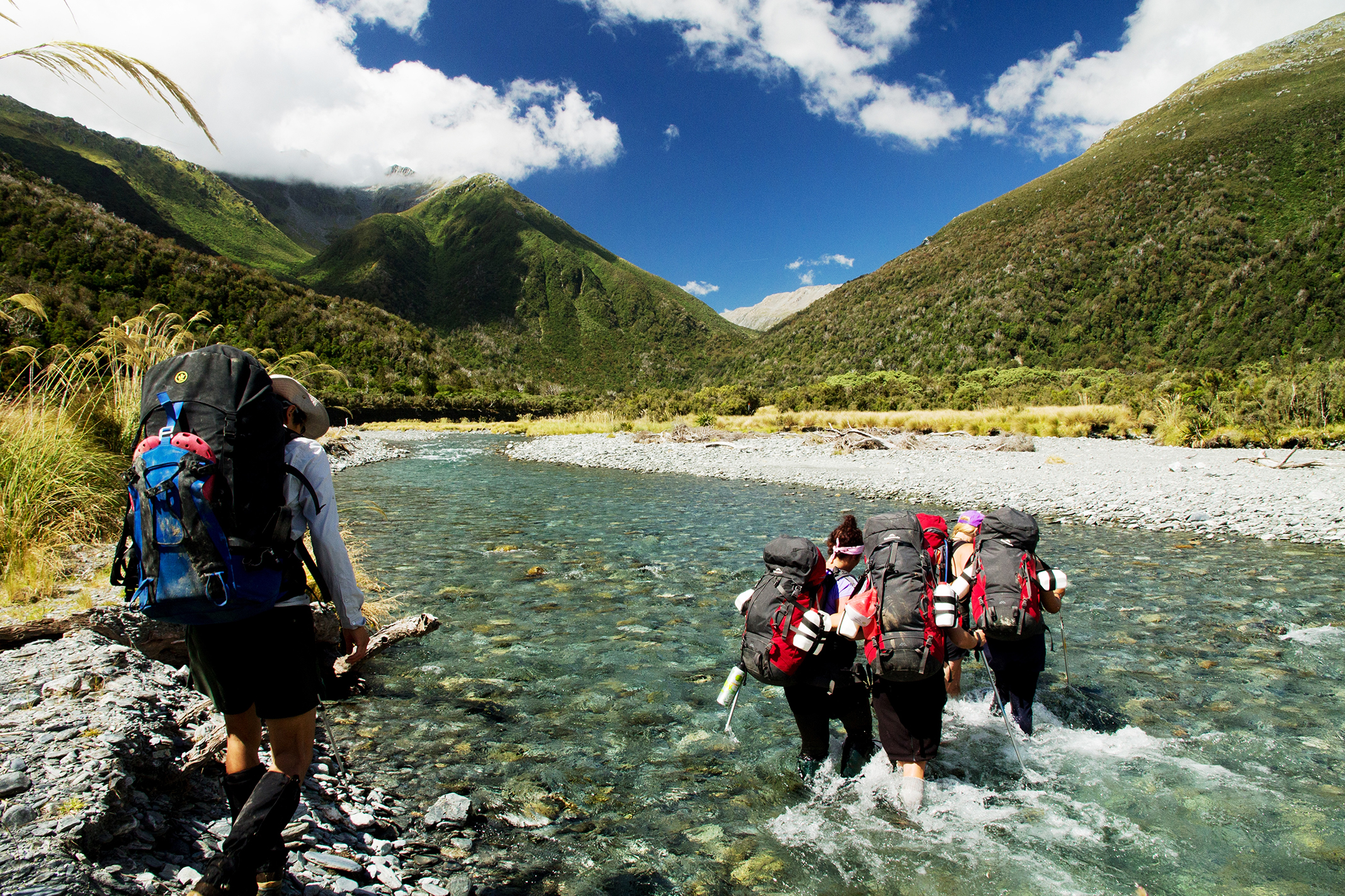 00 River-crossing during the tramp to Grassy Flats Hut.