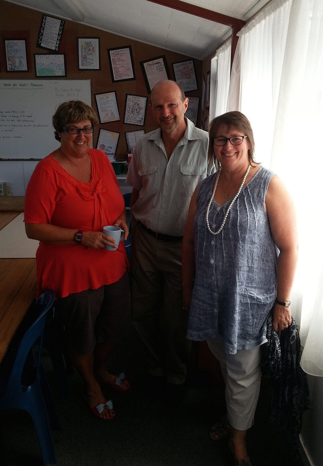From left, Catherine Giblin, John Heaphy and Anna Were at the first bi-monthly hui for the year.