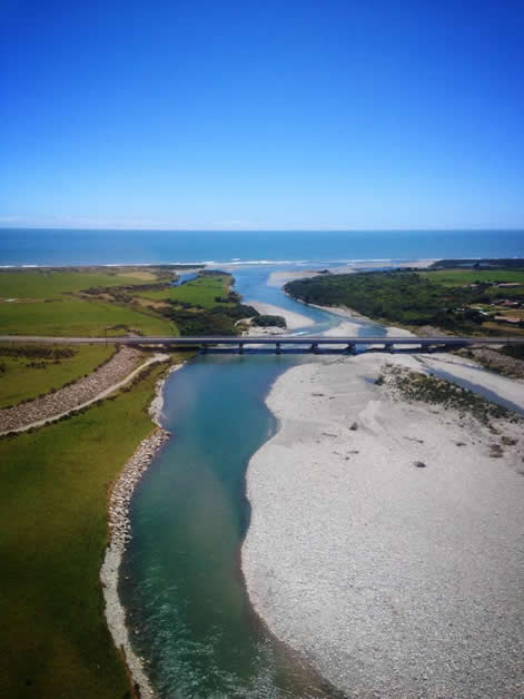 A bird's-eye view of the Arahura River.