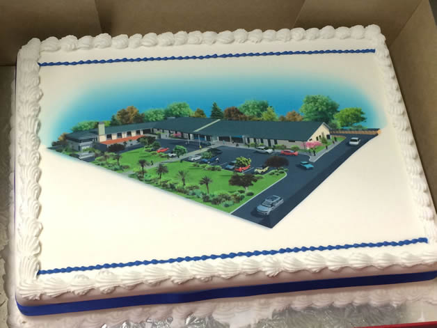 A celebratory cake showing a model of the planned hospital.