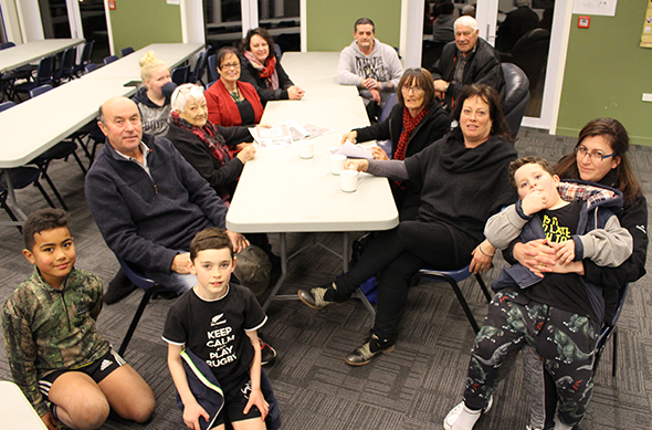 From left: A friend of Taiaroa McDonald, Taiaroa McDonald, Edward Ellison, Aunty Koara Harborne, Erena Russell-Harris, Anne Robertson, Michelle Taiaroa-McDonald, Wayne Frisby, Paul Karaitiana, Robyn nēe Harborne, Julie Rita (nēe Asher), Tukitaharangi Potiki on the knee of his mother, Megan Potiki.