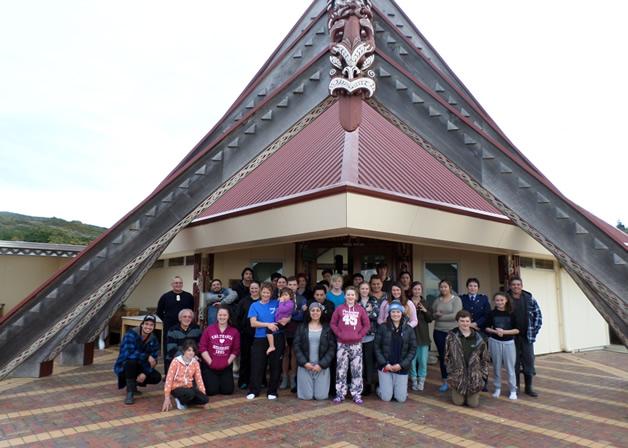 A group photo before participants left Te Rau Aroha Marae.