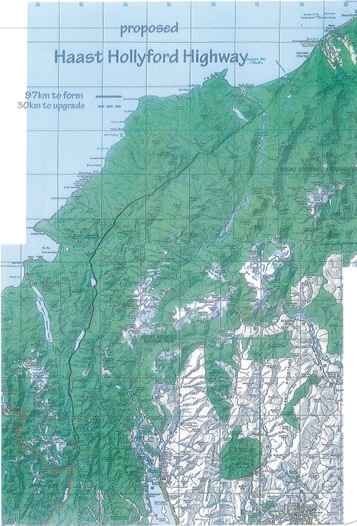 A map of the Haast Hollyford area.