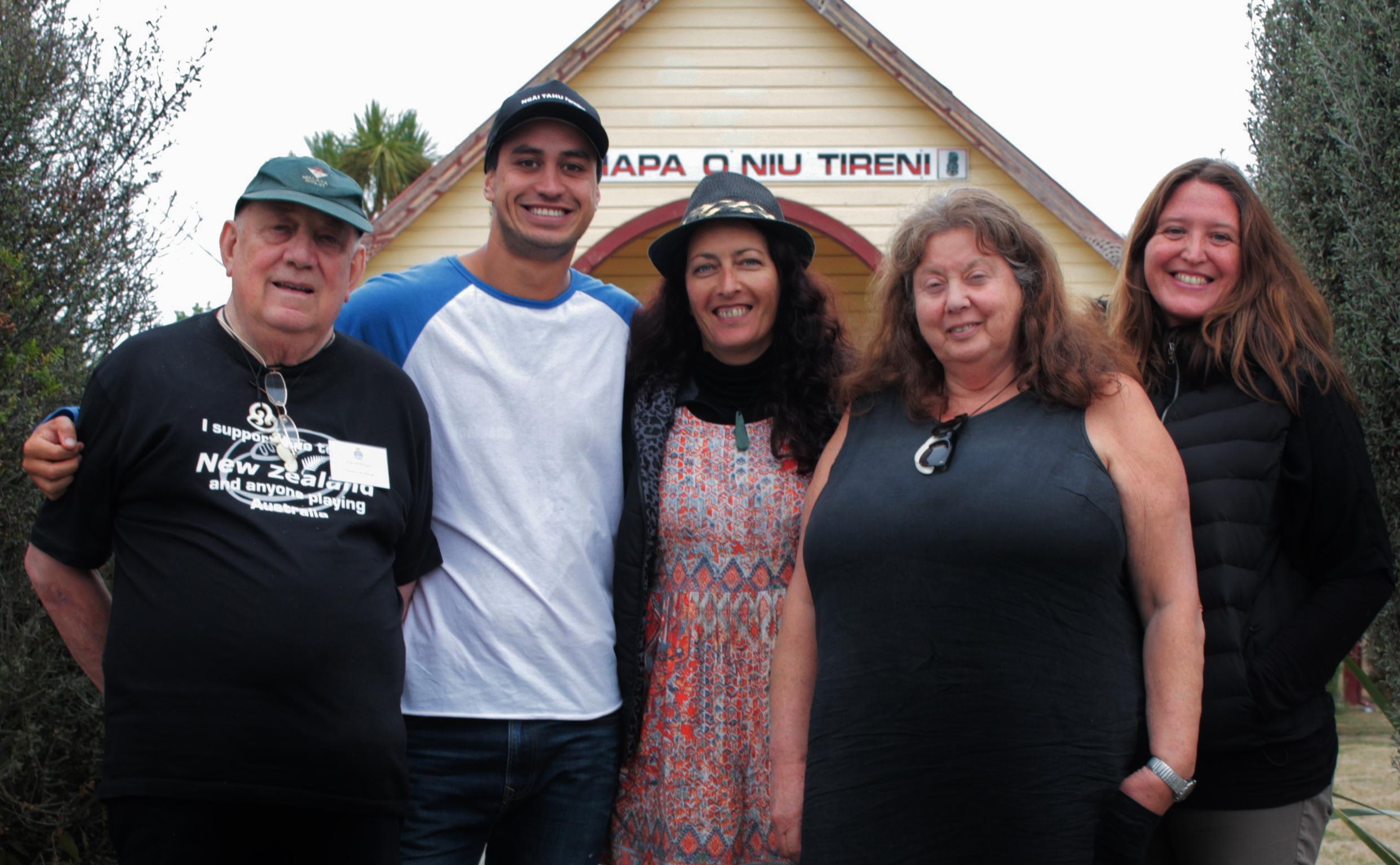 A quick stop at Arowhenua Marae on the way to Te Matatini. From Left, Upoko David Ellison, Waiariki Parata-Taiapa, Lisa Te Raki, Giselle Laven and Ranui Ryan.