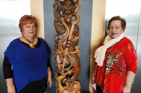 Ailene Stehlin and Mateka Pirini at Te Whare o Te Waipounamu.