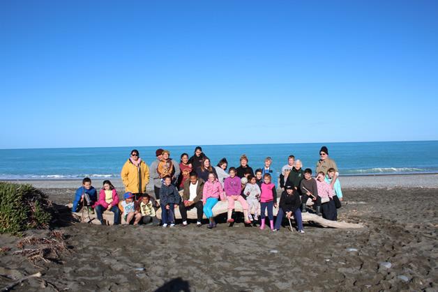All our beautiful tamariki and whānau at Kaitorete Spit.