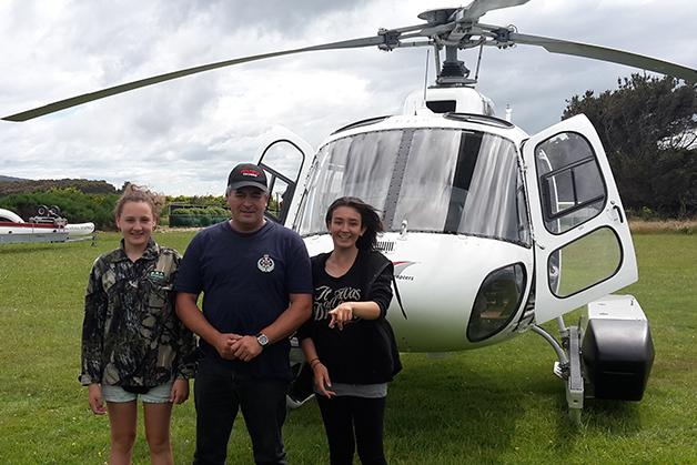 Amanada, Ranui and Tania Bull Tania Bull ready to fly to Rarotoka.