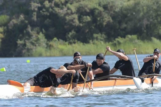 Aoraki Matatū in action at the 25th Waka Ama nationals on Lake Karapiro.