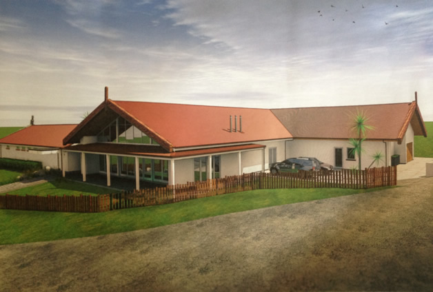 Architectural image of the new wharekai to be developed at Ōnuku.