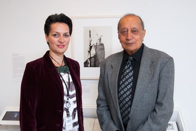 Ariana Tikao and George Waitai Tikao in front of a photo of their pōua, Teone (Hone) Taare Tikao, at the opening of the Borderland exhibition. Photo by Mark Beatty.