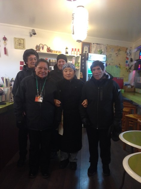 Aroha Boyd, Deb Green, Nancy Reeves and Tamara Rikiti with the owner of the Sushi Shop, Kim.