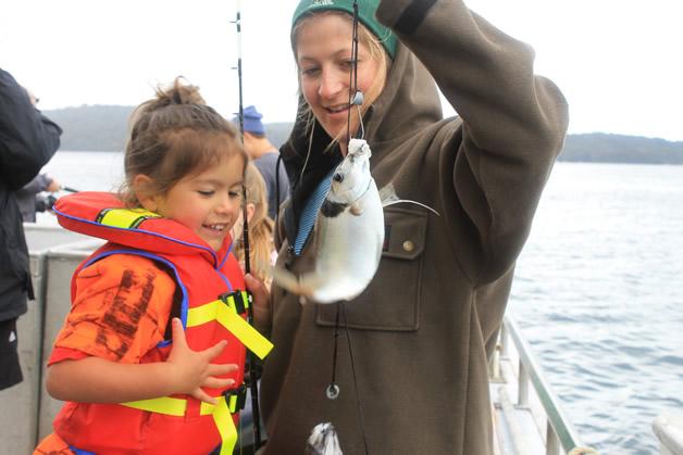 Ataahua and mum, Stevie-Rae Blair with their fishing spoils.