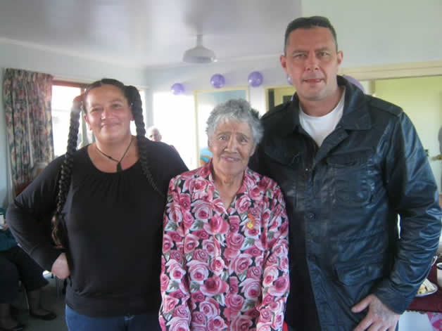 Aunt Tilly and her two mokopuna Rauhine and Adam.
