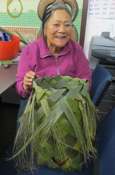 Aunty Rawiria Timothy weaving.