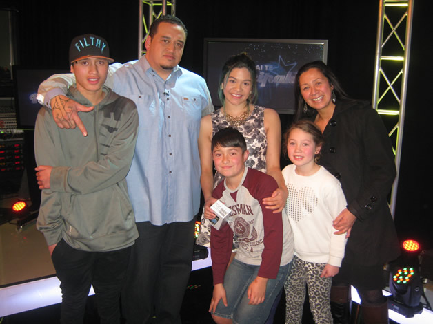Rear from left, Tukotahi, Brent (show host), Sianne and Jackie West. Front, Leevi Dougherty and Bailey Nicole Dougherty.