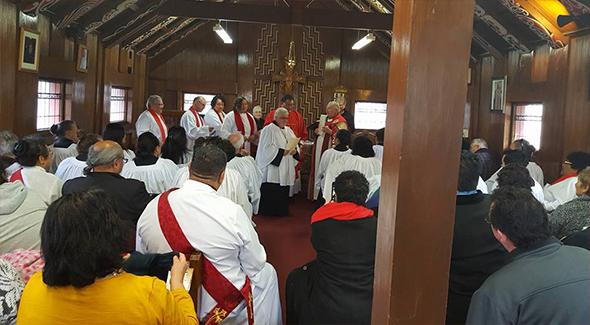 Barbara Vaea, kaikarakia at the chapel, Te Whakaruruhau.