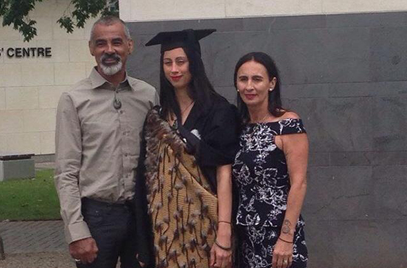 Bayley Skerrett's graduation with her parents Kane and Tania Skerrett.