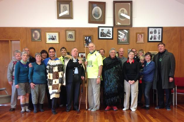 Bishop Kelvin and fellow Te Harinui walkers meet David Ellison, Upoko and other Kati Huirapa ki Puketeraki members.