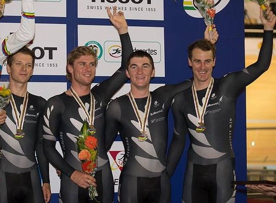 Bronze medal Cali World Champs Pursuit team Aaron Gate, Pieter Bulling, Dylan Kennett and Marc Ryan.