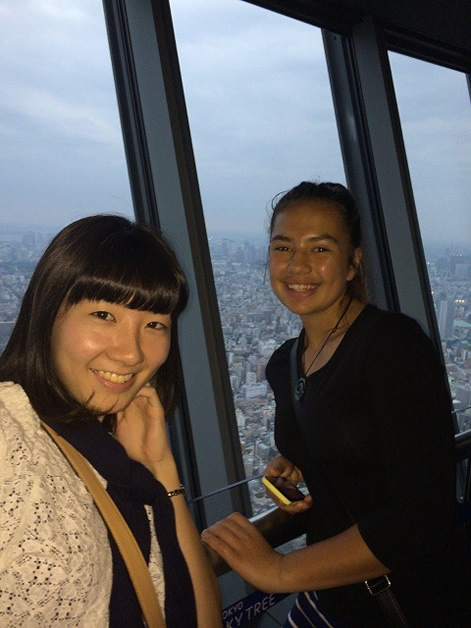 Brooke and a friend sightseeing at the Tokyo Tower.