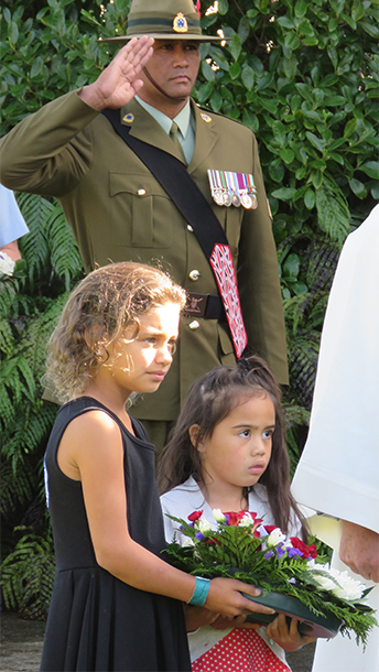 Charlotte Russell and Mahinaarangi Wallace Te Aho pictured with Sgt. Andre Renata of NZ Army.