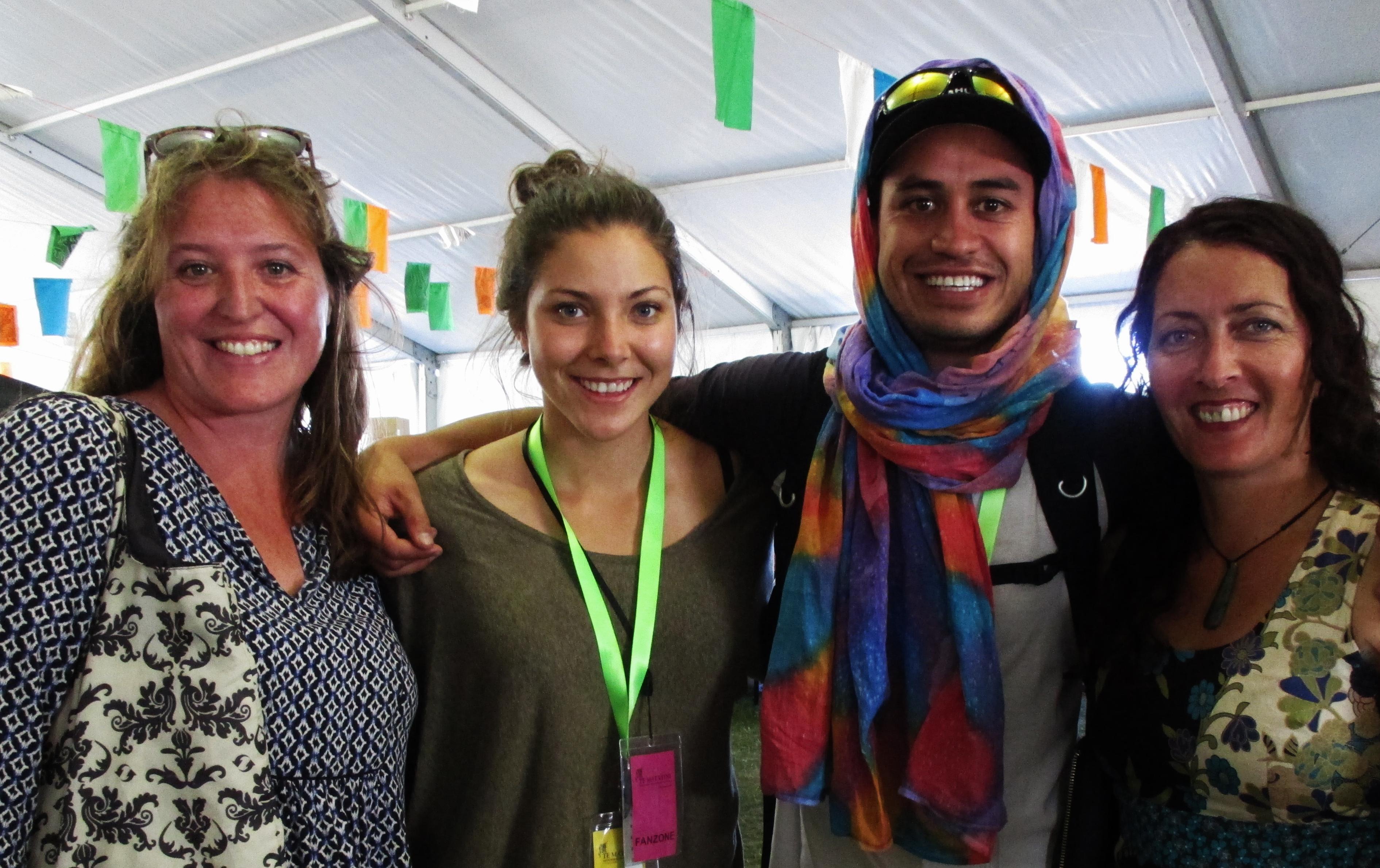 Checking out the awesome market stalls. From left, Ranui Ryan, Ngareka Bensemann, Waiariki Parata-Taiapa and Lisa Te Raki.