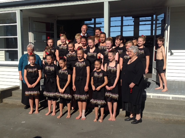 Children from Lincoln Primary with Taumutu Rūnanga whānau and Tā Mark during the Greenpark school site opening.