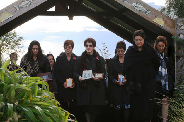 Coming on to the marae, left to right Ariahuia Te Ruki, Fiona Gibson, Maxine Allan, Marilyn Anderson, Carol Henry and Tania Simpson.