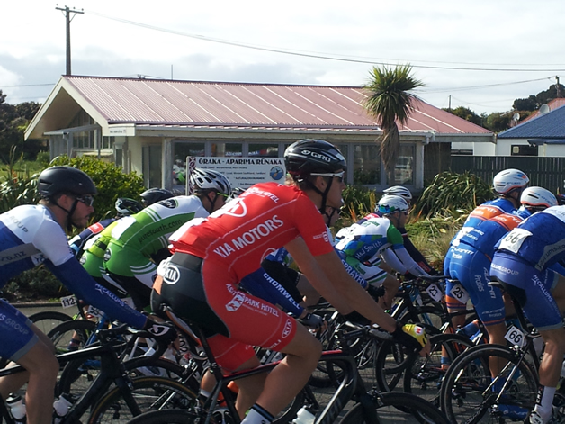 Competitors riding past the rūnaka office.