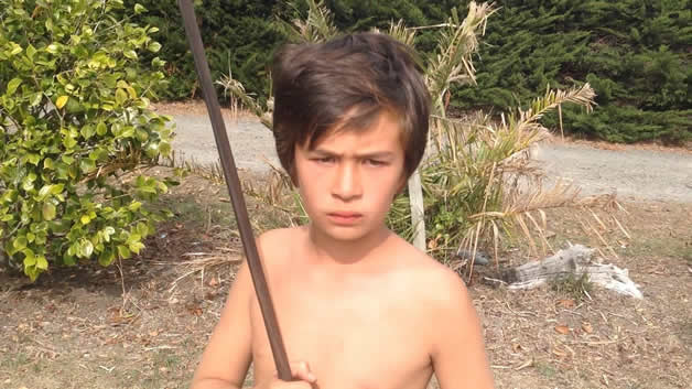 Junior taiaha warrior, Dante.