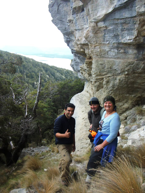 Dave, Rangimaria and Kyle Davis at one of the rock art sites.
