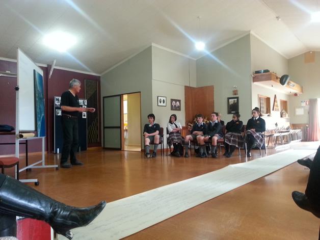 David Higgins shares Moeraki history with the students.