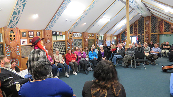 Di Wilson addresses rōpū who have gathered to celebrate her life and the connections she has made.