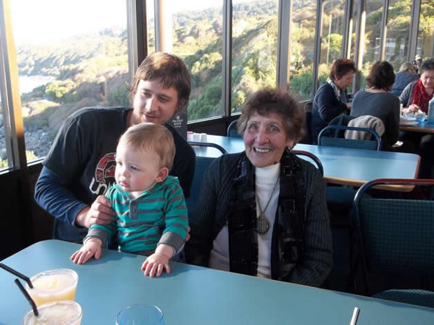 Eileen Hampstead had her 95th birthday celebration at Stirling Point with her grandson Ben and great-grandson George.
