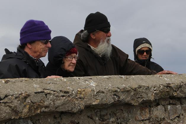 Elaine Hamilton (Stewart Island), Irene Wybrow, Alex Taurima, and Alisha Sherriff at the Rarotoka lighthouse.