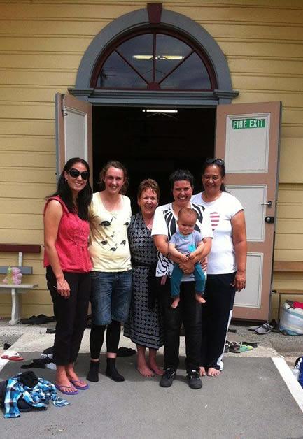 Emma, Kirsty, Robyn, Kim, Te Whe and Gael outside Te Hapa o Niu Tireni.