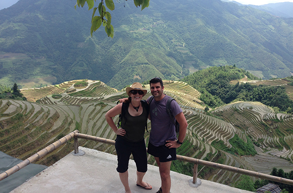 Emma and Andrew at the Longji rice terraces.