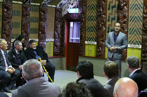 Eru speaking at the industry leaders breakfast at Rehua Marae.