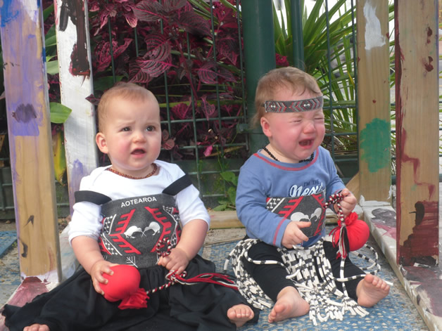 Eva Rose Aroha and Vincent Frederick Lennon at day care dressed up for Māori day.