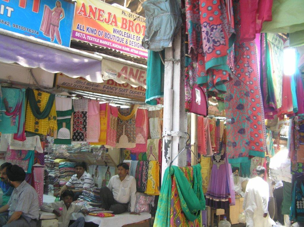 Fabric street stall in New Delhi.