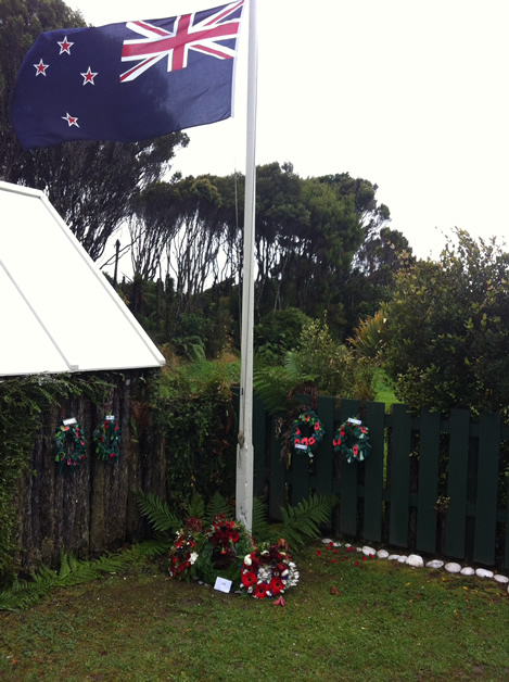 Flags and wreaths at the 100th Anzac Day service.