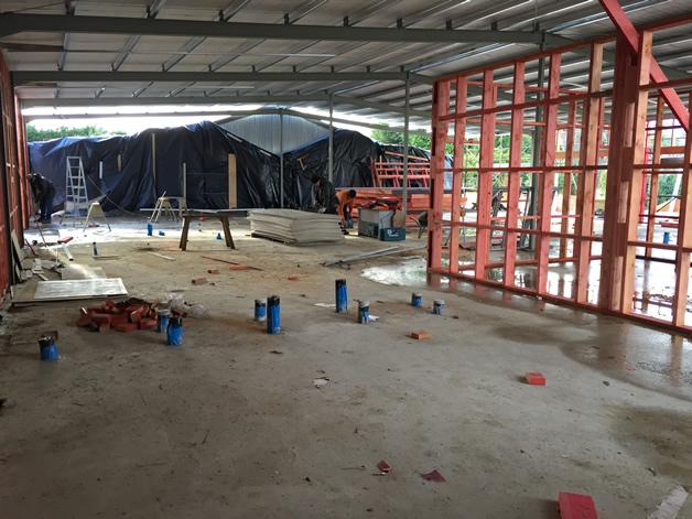 Framing inside the complex rebuild.