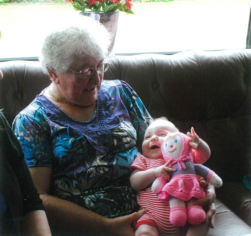 Freda Carr with her great-great-granddaughter.