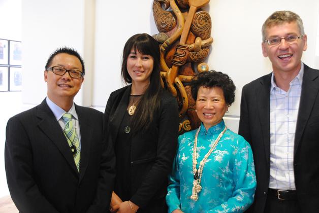 From left, Alan Lai, Taima van der Leden, Madame Tan Xiutian and Ngāi Tahu Holdings chief executive Mike Sang.