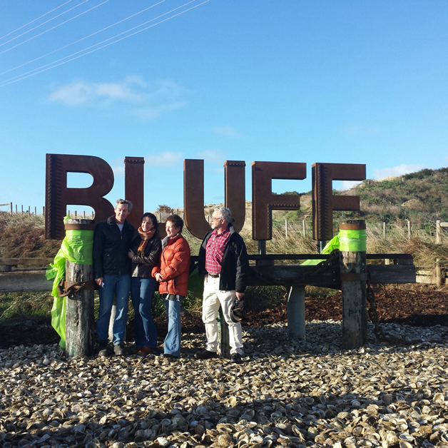 From left,  Andy Watkins Adele McMahon and Liz Wright Steve Mitchell after the ribbon for the new sign was cut.