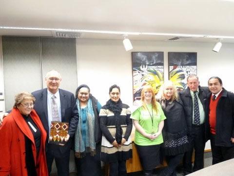 From left,  Auntie Ranui, Tā Mark, Maaki Tuatini, Moana Lousi, Jenny Boyd, Jane Stevens, Uncle Terry and Papi Barrett at Waikato University Kingitanga Day.