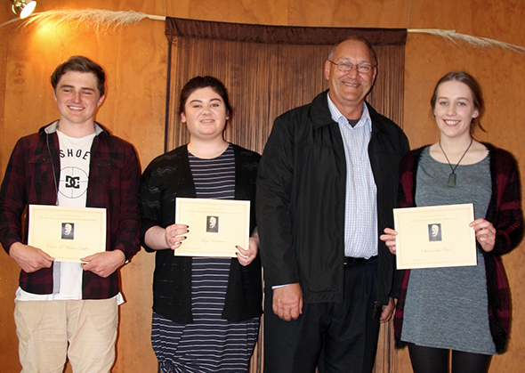 From left, Cairo Te Wahia Griffin, Meg Paterson, Tā Mark Solomon (special guest speaker) and Savannah Flack.