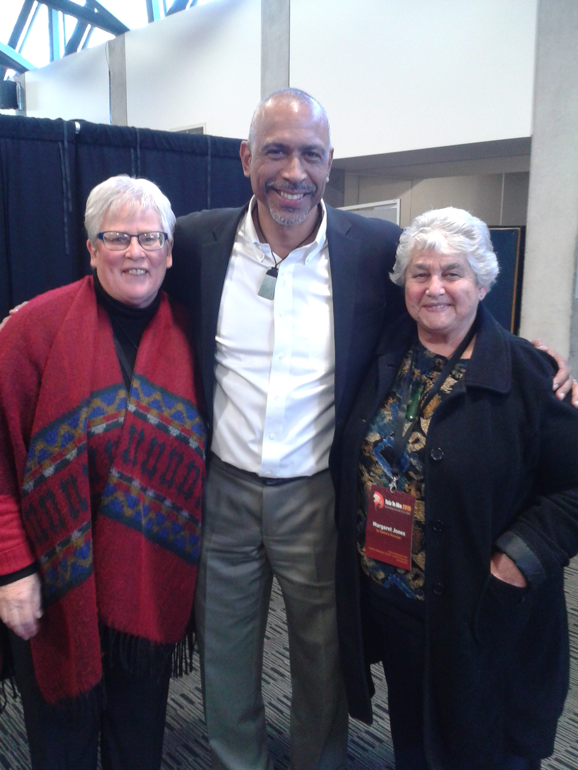 From left, Daphne O'Connell, Dr Pedro Noguera and Aunty Marg Jones.