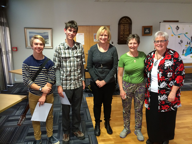 From left, Freddie Gash, George Tucker (Ellesmere College students) with Peri Drysdale of Untouched World, Maria Connolly (Ellesmere College teacher) and Daphne O'Connell.