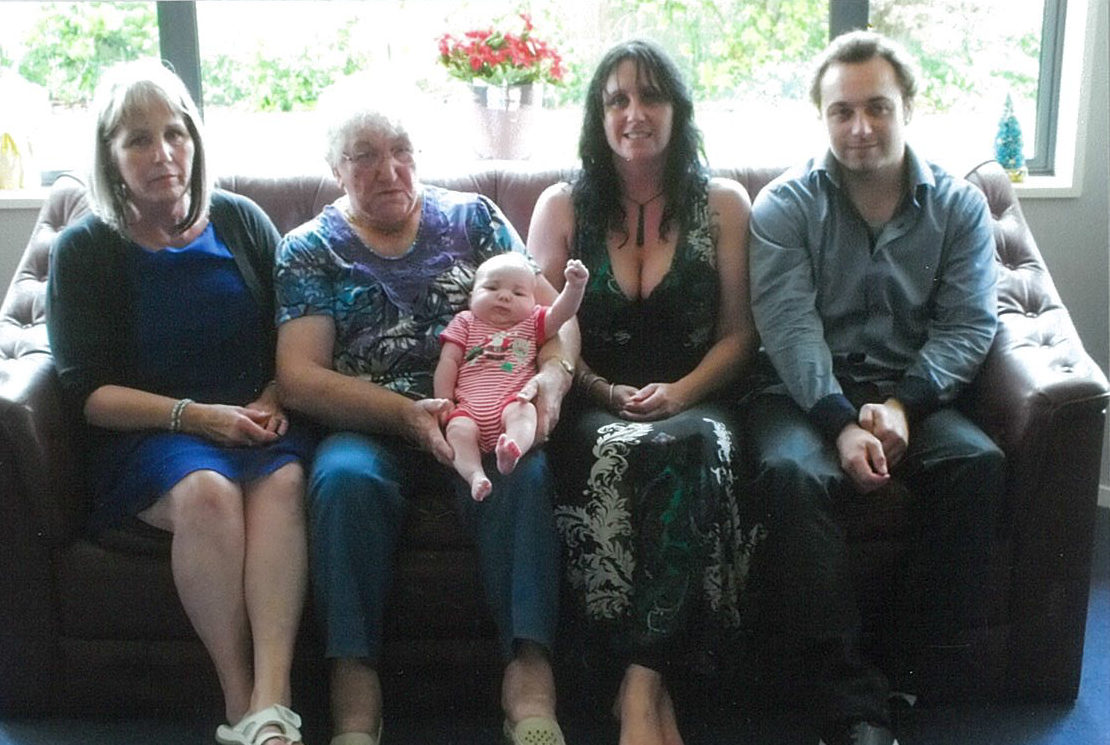From left, Gail, Freda holding her great-great granddaughter, Madison, Anita and Freda's great-grandson, Jacob.